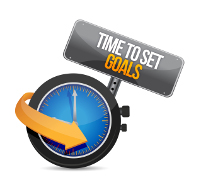 time to set goals illustration design over a white background